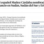 El español Muñoz Cárdaba nombrado nuncio en Sudán, Sudán del Sur y Eritrea